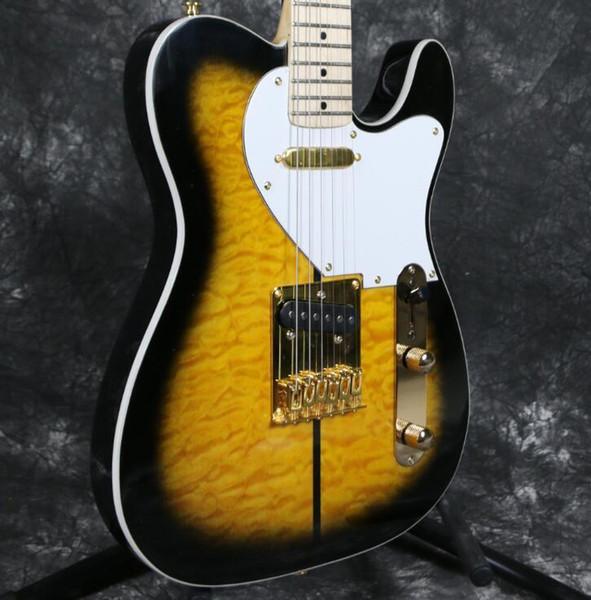 Custom Merle Haggard Tuff Dog Tele TL Honey Sunburst Quilted Maple Top Electric Guitar Maple Neck & Fingerboard, String Thru Body Bridge