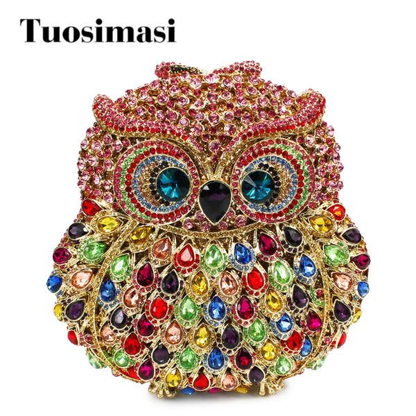 2017 new design owl animal shape fancy crystal clutch evening handbag evening party bags handbag(81782-CP)