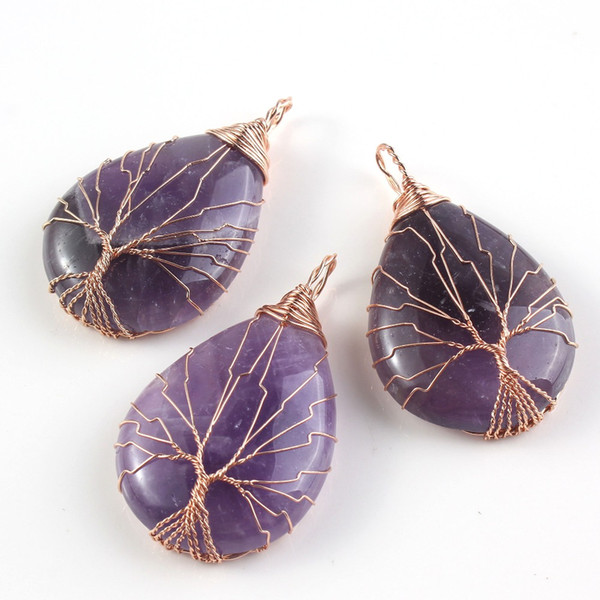 Rose Gold Color Tree of Life Wire Wrap Water Drop Necklace & Pendant Reiki Amethysts Veins Onyx Jewelry