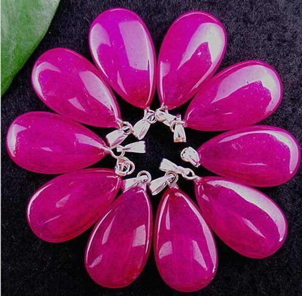 10Pcs Beautiful White Stone Add Rose Shallow Teardrop Pendant Bead