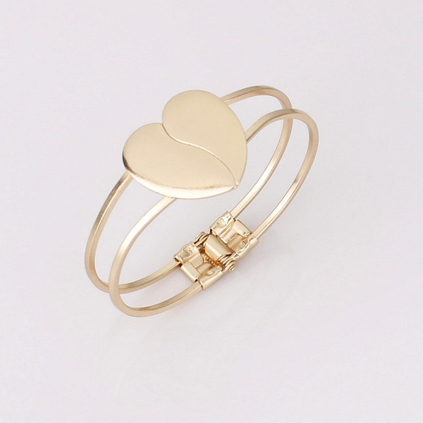 Promotion 2018 New Crystal Charm Heart Bangle Gold Color Love Bracelets Bangles for Women Fashion Cuff Bracelets