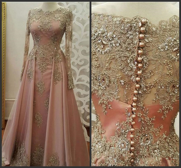 Blush Rose oro vestidos de noche de manga larga para las mujeres usan apliques de encaje crystal Abiye Dubai Caftan musulmanes vestidos de fiesta de graduación 2018 Nuevo