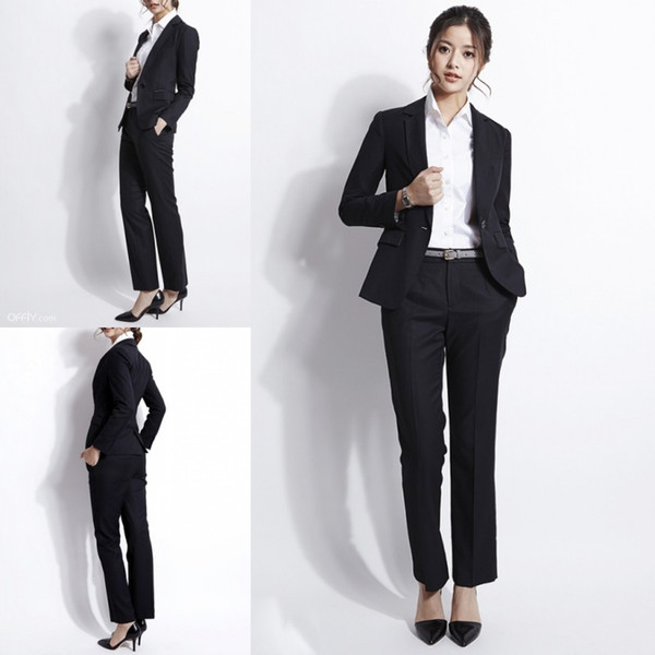 Compre Elegante Traje De Mujer Formal Negra De Dos Piezas Chaqueta Pantalón Trajes Formales De Carrera Vestido De Señora De Oficina Vestidos De