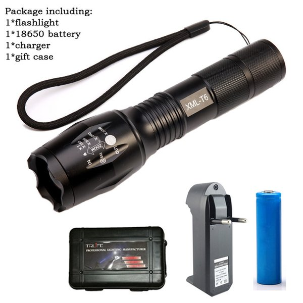flashlight+battery+charger+gift case