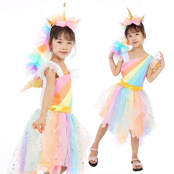 El rendimiento de los niños de Halloween cosplay traje unicornio femenino rendimiento de la etapa pony rainbow princess dress envío gratis