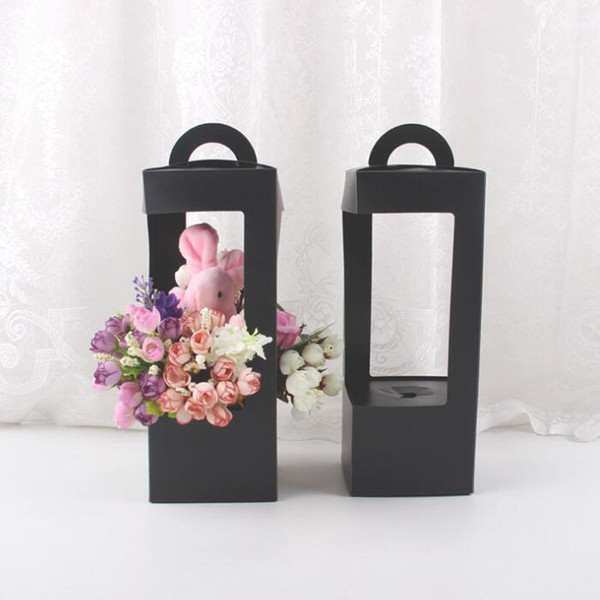 Lighthouse Flowers Box Waterproof Plastic Packaging Gift Boxes Floral Folding Floral Packing Box Black Wholesale QW8834