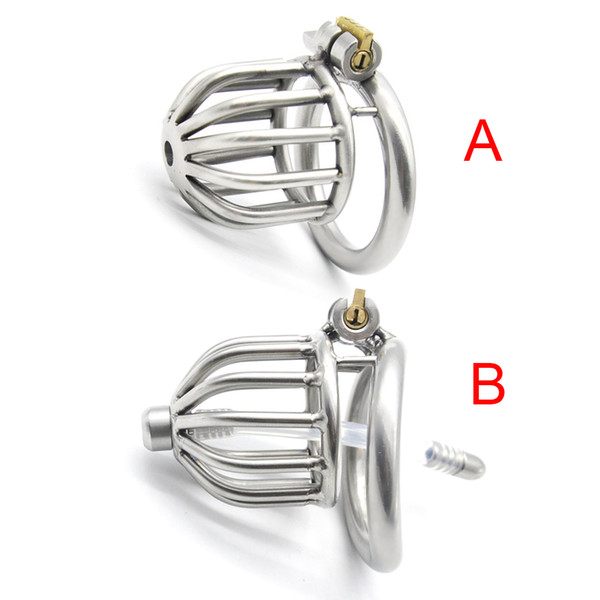 2 Styles Male Chastity Device Penis Lock Stainless Steel Cock Cage Metal Chastity Belt Sex Toys For Men With Curved Penis Ring