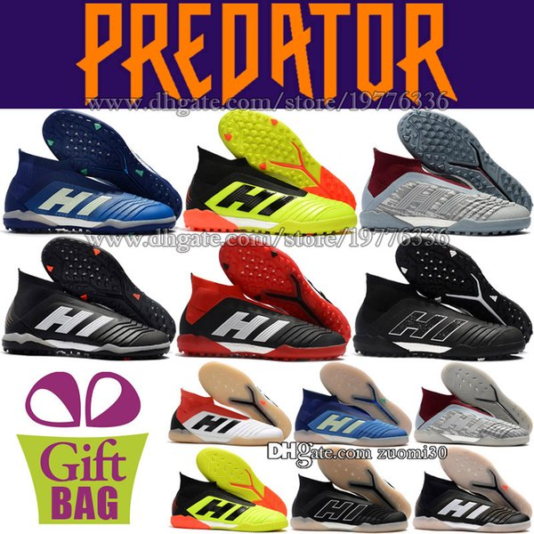 New Mens Soccer Shoes Turf High Ankle Soccer Cleats Predator Tango 18 IN Football Boots TF Indoor Football Shoes Socks IC Soccer Boots