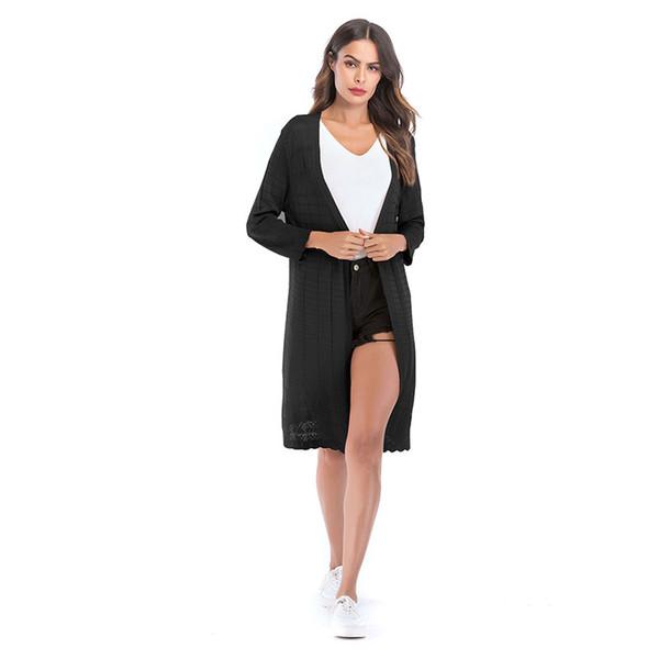 2018 Automne Femmes Solide Couleur Cardigan De Mode Casual Creux Manches Longues Cardigan Femelle Top Vêtements De Dessus