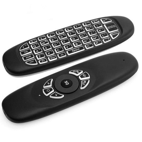 C120 Backlight Fly Air Mouse 2.4GHz Wireless Mini Keyboard 6-Axis Gyroscope Game Handgrip Remote Control for Android TV BOX Backlit