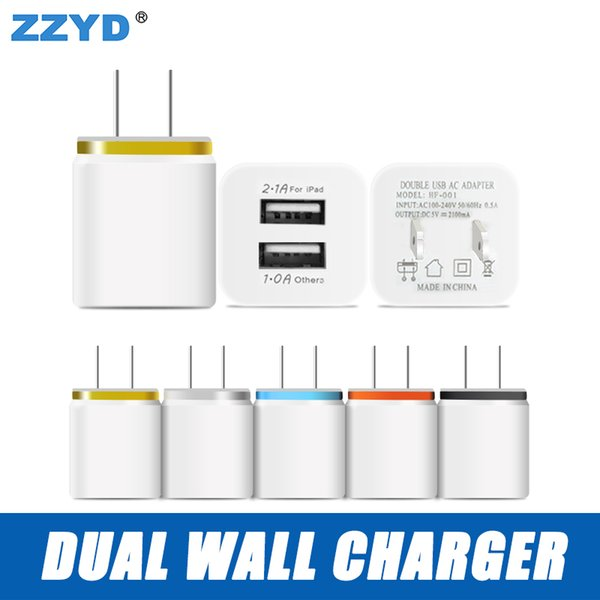top popular US EU Dual USB Wall Charger Travel Adapter 5 V 2.1 A for iPhone 6 7 8 X Samsung 8  8S 2019