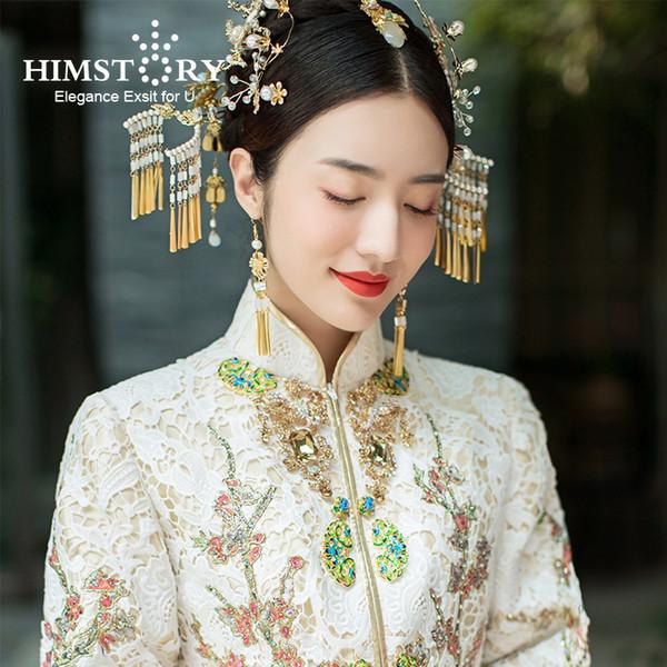 HIMSTORY Retro Vintage Chinese Wedding Hair Accessories Jewelry Gold Long Tassel Hairpins Pearl Beaded Wedding Hair Jewelry C18110801