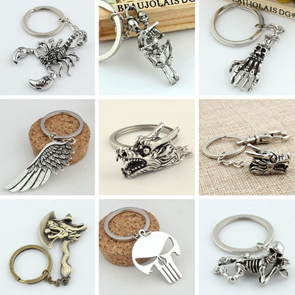 Hot 10 different styles of punk retro car angel feather keychain metal keychain key ring T6C020