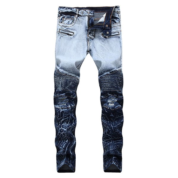Men Ripped Jeans Biker Slim Fit Pleated Jeans Pants Fake Zipper Stretch Fashion Trousers New Design Plus Size 28-42 Dropshipping