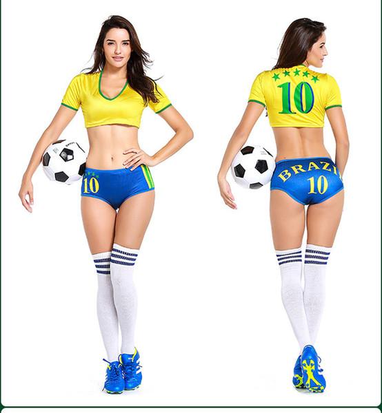 61c5c9a54b 2019 Sexy Lingerie Uniform Soccer Player Brazil Cheerleader World Cup  Football Girl Fancy Dress Costume P2810 From Yoyo888, $17.36 | DHgate.Com