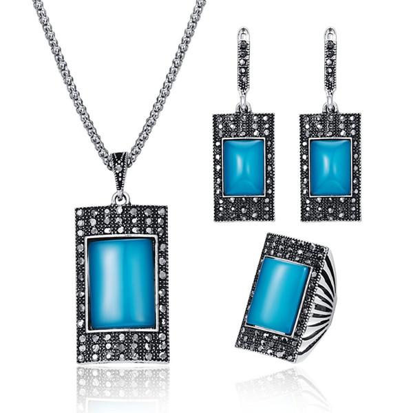 Classic Geometric Ethnic Jewelry Set Fashion Rectangle Resin Stone Necklace Set Vintage Turkish Crystal Women Party Jewelry 20%