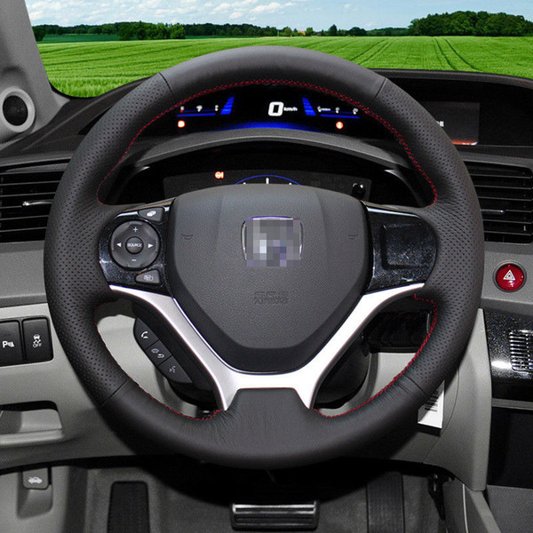 For Honda Civic 9th/ Jed Car DIY Hand Sewing Steering Wheel Cover Balck leather