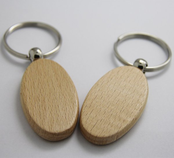 Wholesale 500pcs Oval Blank Wooden Key Chain DIY Promotion Customized Key Tags Promotional Gift Ring-Free shipping