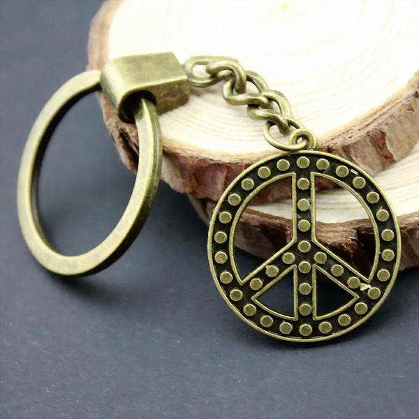6 pieces key chain women key rings car keychain for keys peace 26x26mm