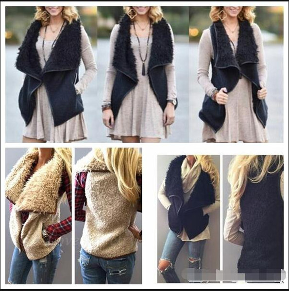 best selling women winter warm Vest Sherpa outwear irregularity Imitation Faux Fur Shearling Vest women winter warm Tank Tops Tank Tops