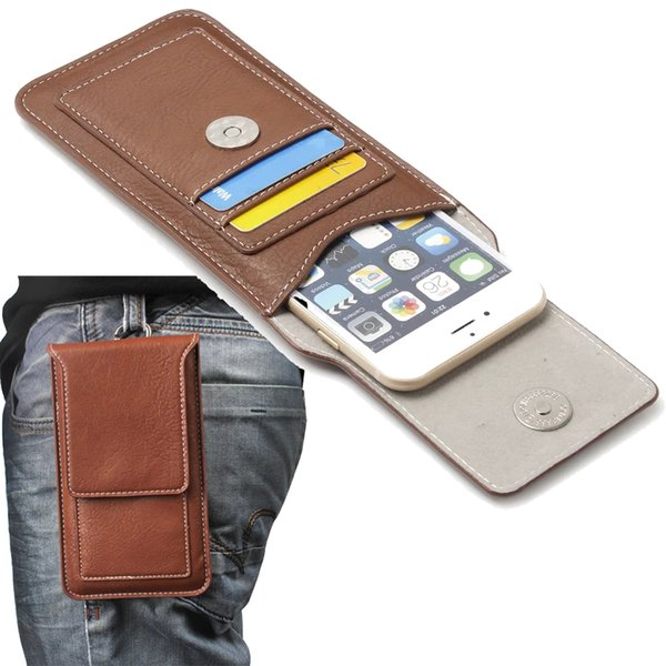 """Vintage Mountaineering Belt Clip Holster Bags Hook Loop Magnetic Pouch Leather Vertical Cover Case For Phone 4.7 5.1 5.5"""" Below"""