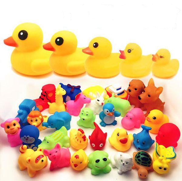 Оптовая ванны младенца Игрушки душ Вода Плавающие Squeaky Желтые Утки Симпатичные животные Baby Shower игрушки Резиновые игрушки воды Бесплатная доставка