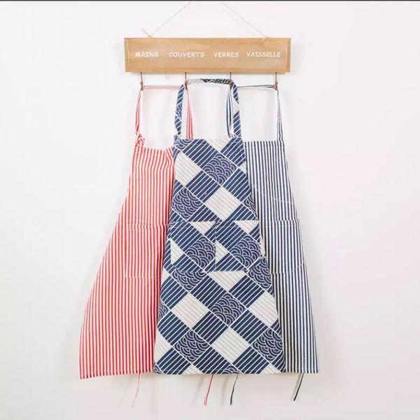 high-end fashion simple Cotton and linen aprons coffee shop beauty salon restaurant work cloth home kitchen apron