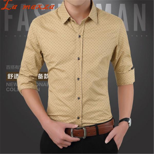 2018 Spring Big Size Polka Dot Shirt Mens Short Sleeve Slim Fit Business Korean Fashion Style Shirt for Men