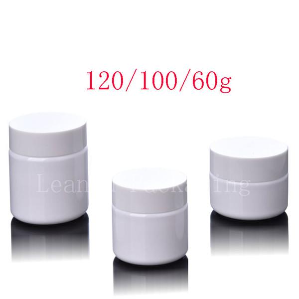 White PET Jar Screw Caps, 60ml 100ml 120ml Empty Cream Plastic Container White Lid , Cosmetic Cream Pot Bottles 60g 100g 120g