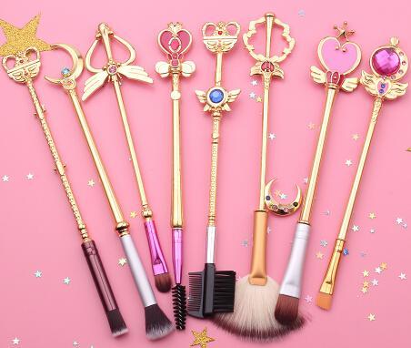 Livraison gratuite 2 style marin lune pinceau cosmétique pinceaux de maquillage ensemble outils kit Eye Liner Shader cheveux naturels