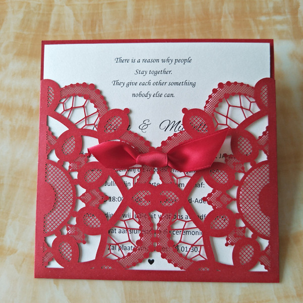 Red Wedding Invitations 2020 Lace Birthday Party Invitation Cards with Envelope Free Customized Printing 50pcs Wedding Supplies