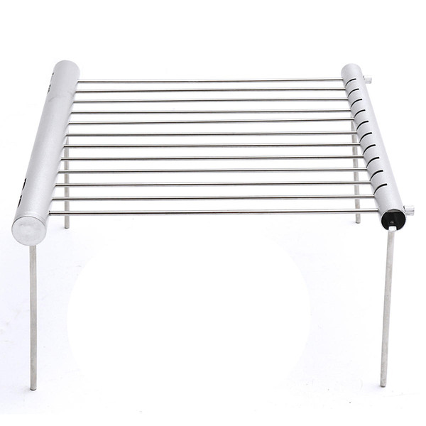 Durable Outdoor Portable Folding Stainless Steel Barbecue Grill Camping Picnic BBQ Rack Stainless Steel Kitchen Extensible Shelf Dish Rack