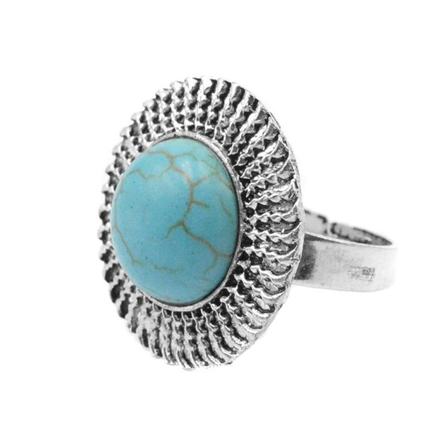 XY Fancy Blue Stone Ring Vintage Style Fashion Round Shape Circular Four Adjustable Size Elegant Female Ring