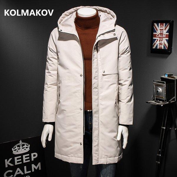 2018 Kış Erkekler moda trençkot Aşağı Ceket Kalınlaşmak Kapşonlu rahat% 90% beyaz ördek aşağı Parka Palto büyük boy 4XL