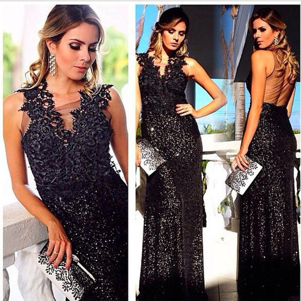 Abiti da sera con paillettes neri Fodera Sheer Back Formal Long Prom Gowns Rose Lace Pattern Long Party Dress