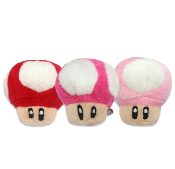 400pcs 7cm Super Mario Bros Mushroom With Key Chain Plush Doll Toy kids gift Classic Pendant Free shipping