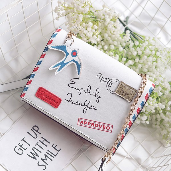 Brand crossbody bags for women small designer bags high quality envelope vintage with swallow pendant big gift white color 297