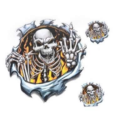 best selling New Cool Ripped Finger Skull Pattern Motorcycle Sticker for Motorbike Helmet Window Skeleton Decal Stickers