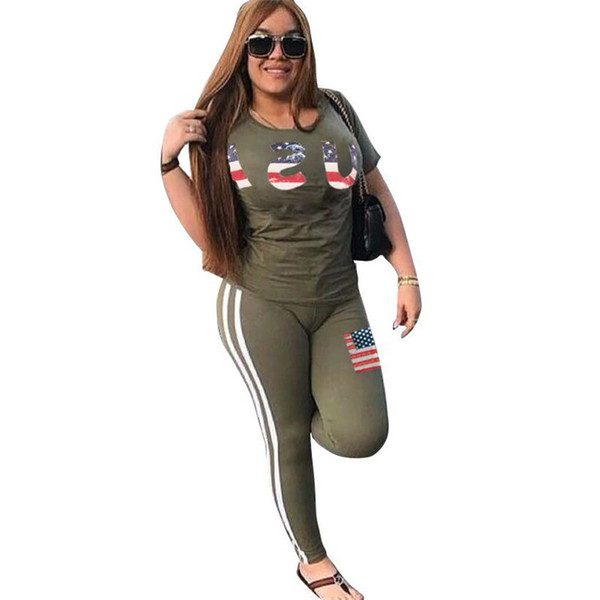 Women Summer Tracksuit USA Letter Print Outfit Short Sleeve T Shirt Tops + Pants Leggings With Flag 2PCS Set for USA Independence Day 2018