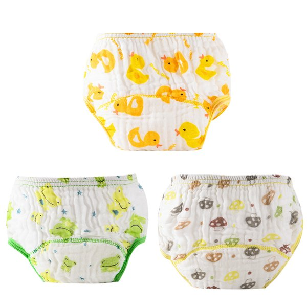 Baby Reusable Diapers Baby Washed Gauze Anti-side Leakage Cloth Diaper Cartoon Printing Nappies Training Panties for 0-12M