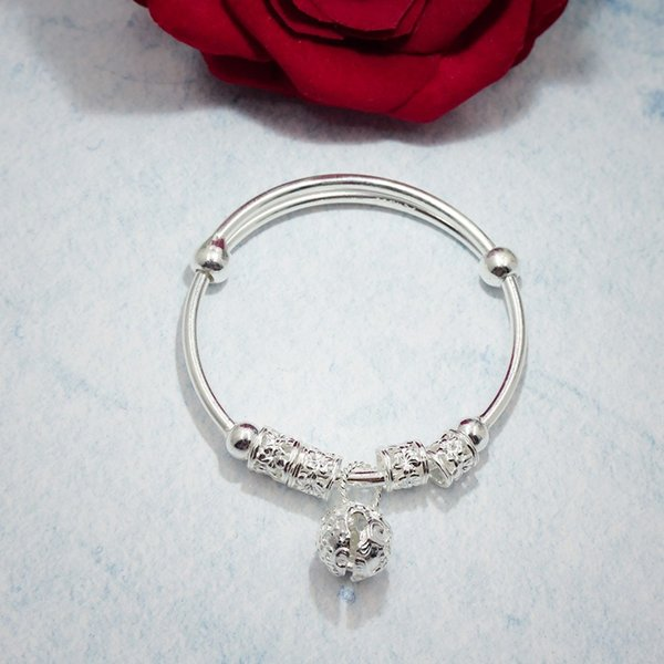 Authentic 990 Sterling Silver Jewelry Fashion Adjustable Charm Bangle for Women Lady Wedding Gift Vintage Bell Bracelet