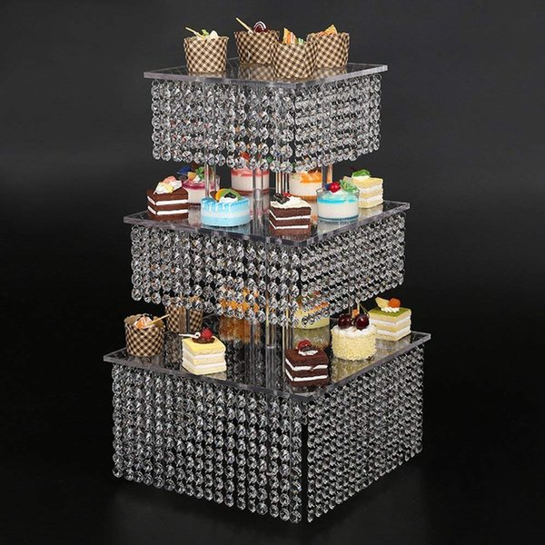 3 Tier Acrylic Cupcake stand Crystal Cake Stand Square Christmas Wedding Anniversary Birthday Party CAKE Display Tools