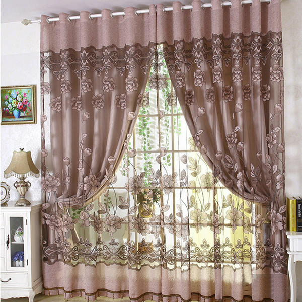 best selling Luxury Embroidered Tulle Blackout curtain for Living Room Bedroom Floral Printed Modern style Drapes Tulle with Beads Treatment