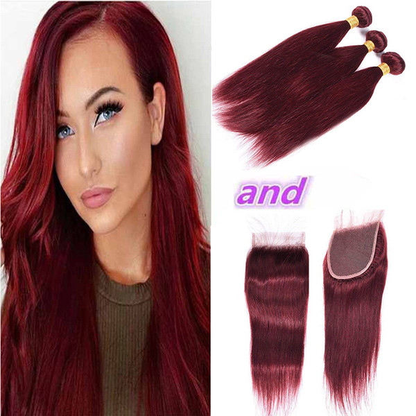Wholesale Brazilian Burgundy 99# Straight Hair 3 Bundles With Closure Cheap Colored Brazilian Red Virgin Human Hair Weave With Closure