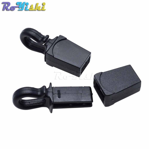 100pcs/lot Zip Clip Buckle Zipper Pulls Cord Rope Ends Lock Black For Paracord/Backpack/Clothing
