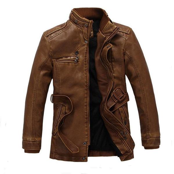 Neue Männliche Winter Lederjacke Mode Warme Motorradjacke Qualität Marke jaqueta de couro masculino Große Größe XXL