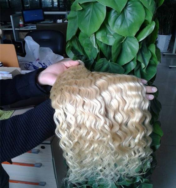 Bundles de cheveux humains blonds vague malaisienne d'armure de tissage 2pcs / lot Extension de cheveux non remy Double Trame cheveux blonds vierges