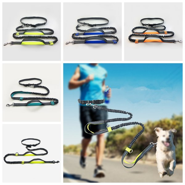 5Color Hands Free Waist Dog Leash With Dual Bungees Dual-Handle Bungee Leash With Adjustable Waist Belt For Running Jogging Walking AAA594