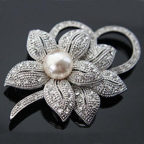 горячее надувательство винтажном стиле родием ясно Австрия кристаллы имитация жемчуг большой лук брошь для женщин свадебные аксессуары