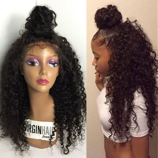 Full Lace Human Hair Wigs Curly Brazilian Virgin Hair Kinky Curly Natural Hairline With Baby Hair Lace Front Wig Glueless Bleached Knots